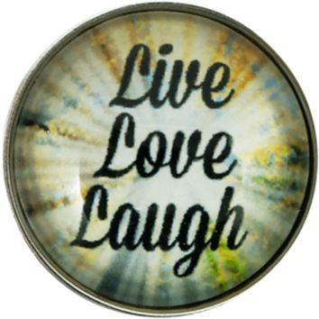 "Snap Charm Live Love Laugh 20mm 3/4"" Diameter"