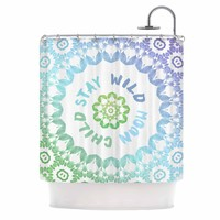 "Alison Coxon ""Stay Wild Moon Child"" Blue Green Digital Shower Curtain"