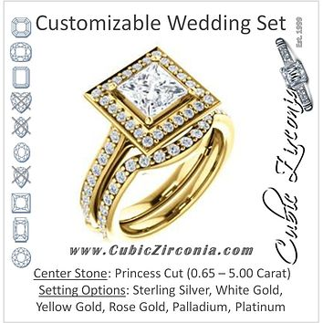 CZ Wedding Set, featuring The Sally engagement ring (Customizable Halo-Princess Cut Design with Round Side Knuckle and Pavé Band Accents)