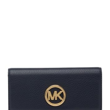NWT MICHAEL KORS Fulton Navy Blue Pebble Leather Flap Continental Wallet $158