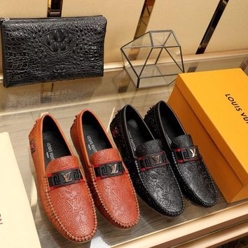LV Louis Vuitton Men's Vintage Leather Casual Loafer Shoes Best Quality