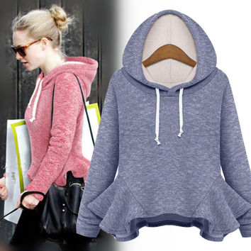 Pullover Hats Long Sleeve Tops Ruffle Hoodies [9371062919]