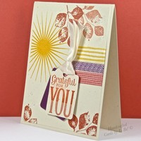 Handcrafted Grateful For You Thank You Card With Sun Burst And Leaves