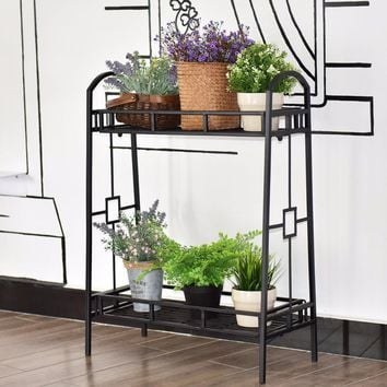 Giantex Heavy Duty 2 Tier Metal Flower Pot Rack Plant Display Stand Shelf Holder Decor Outdoor Furniture OP3344