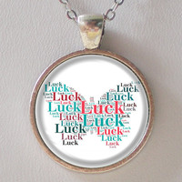 Luck Necklace- Butterfly Luck- Artistic Text Design