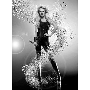 Carrie Underwood Poster Standup 4inx6in black and white