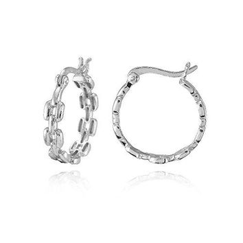 Sterling Silver Square LinkDesign Round Hoop Earrings