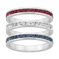 Traditions Red, White & Blue Swarovski Crystal Sterling Silver Eternity Ring Set (Blue/White/Red)
