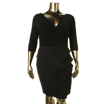 Lauren Ralph Lauren Womens Yuella Layered Look Sheath Party Dress