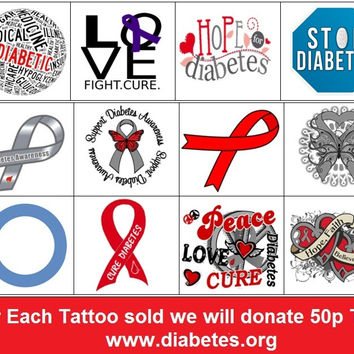 Diabetes  Awareness Temporary Tattoos