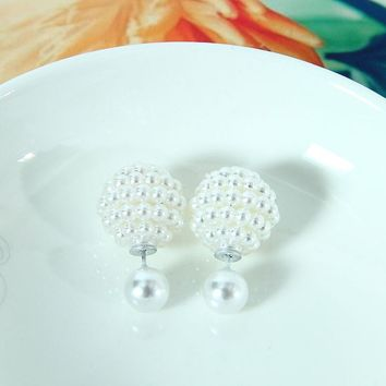 Aros Double Pearl Clip Multi-Color Ear Cartilage Statement Stud Earrings for Women Wedding Party Jewelry