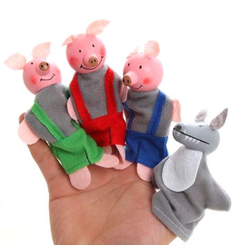 New 3 Pig And 1 Gree Wolf Finger Toy Little Pigs Finger Puppets Kids Educational Hand Toy Story Toy for Boy Girl