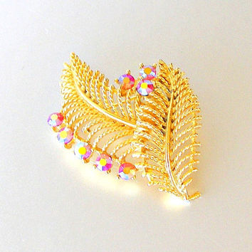 Vintage LISNER Floral Brooch. Pink AB Rhinestone Brooch. Gold Leaves Pin. 1960s Brooch.