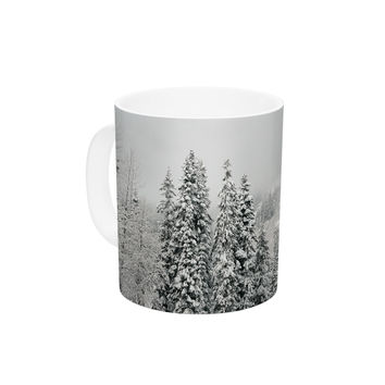 "Robin Dickinson ""Winter Wonderland"" White Gray Ceramic Coffee Mug"