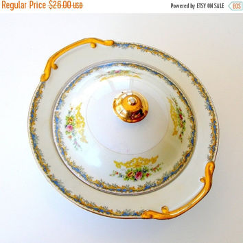 SALE Vintage Japanese China Covered Serving Bowl, Kikusui Fine China Serving Dish, Noritake Style, Hand Painted Floral Serving Bowl.
