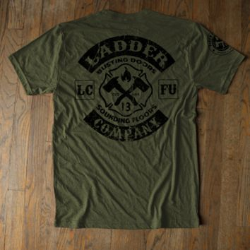Ladder Company - Vintage Logo Military Green Tee