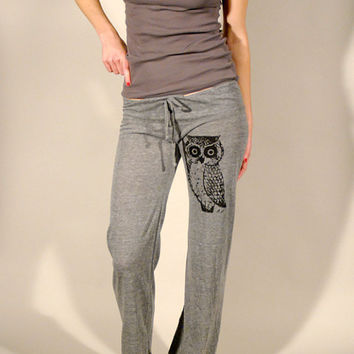 Owl Women's Eco Grey Screen Printed Pant by branchhandmade