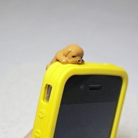 Cute Puppy cellphone charm ear jack, anti dust earphone cap