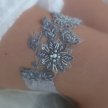 Grey wedding garter  Gray lace garter , Wedding Garter, vintage  garters, lace Garter, Free Ship