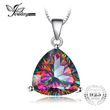 JewelryPalace 4ct Genuine Nature Rainbow Fire Mystic Topaz Pendant Trillion Concave Cut Pure Solid 925 Sterling Silver Fashion
