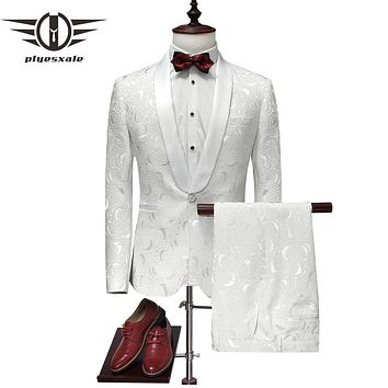 Plyesxale Suit Men 2018 Latest Coat Pant Designs White Wedding Tuxedos For Men Slim Fit Mens Printed Suits Brand Clothing Q315