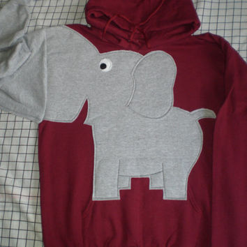 Hooded sweatshirt with an elephant trunk sleeve, adult unisex size medium, burgundy, maroon