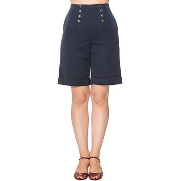 50's Vintage Sailor High Waist Double Buttoned Weekender Bermuda Shorts