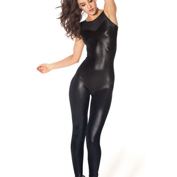 Wet Look Sheer Top Catsuit