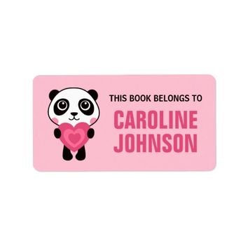 Panda holding heart cute animal bookplate book label