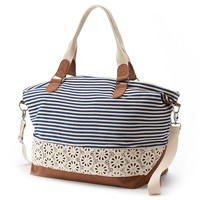 Candie's Lily Striped & Floral Convertible Weekender Bag (Blue)