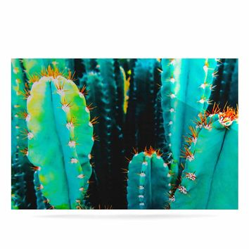 """mmartabc """"Desert Cactus Colorful"""" Blue Green Nature Travel Photography Painting Luxe Rectangle Panel"""