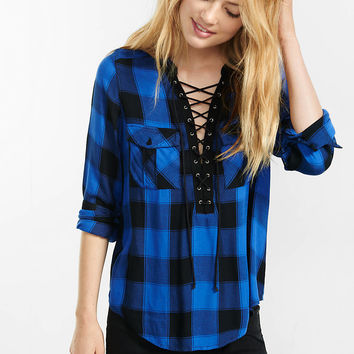 black and blue check lace-up shirt