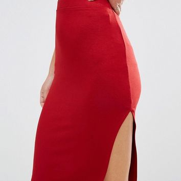 ASOS PETITE Skirt with Thigh Split at asos.com