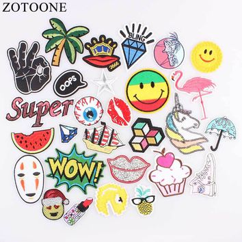 ZOTOONE Star Lip Patch Letter Kids Cheap Cute Embroidered Patches Food Iron On Cartoon Patches For Clothing Jeans DIY Appliques