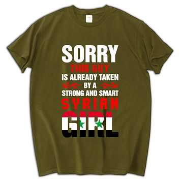 Syrian flag luxury men t shirt this guy is already taken a syrian girl men t-shirt funny cotton men tees and tops