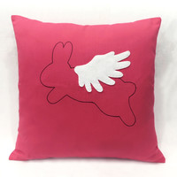 Pick Your Color. Flying Rabbit Red Decorative Pillow Cover. When Rabbit Flies Wonderland Cushion Cover. Children Room Decor