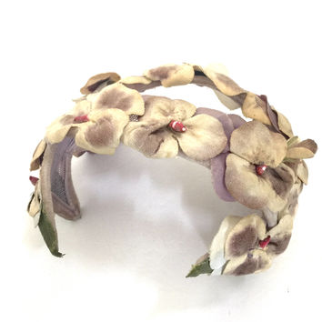 Floral Bandeau Half Hat, Fabric Flowers, Cream & Taupe, Mid-Century Mad Men Style, Taupe Covered Wire Frame Adjusts Size Small to Medium