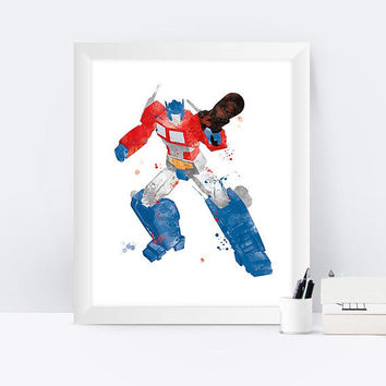 Optimus Art Print, Watercolor, Wall Art, Transformers, Optimus Prime Printable, Superhero, Nursery, Kids Decor, Gift, instant Download