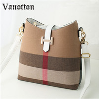 Hot Bucket Bag Fashion Women Handbags Plaid Ladies Hand Bags Designer Handbags High Quality Canvas Designer Ladies Black Handbag