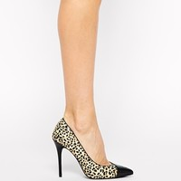 River Island Leather Pony Effect Heeled Court Shoes at asos.com