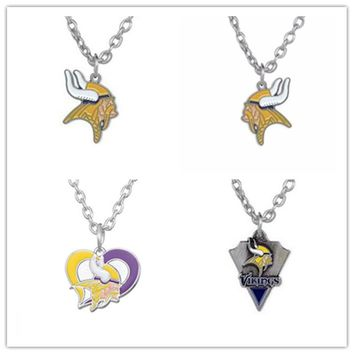 4 Style Alloy Sports Enamel Football Team Minnesota Vikings Pendant Necklace With 500+50mm Chain For Men & Women 20pcs/lot