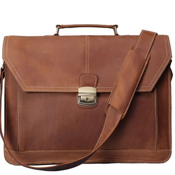 BLUESEBE MEN HANDCRAFTED VINTAGE LEATHER BRIEFCASE/MESSENGER BAG 7083