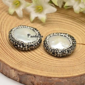 Flat Round Shell Pearl Beads, with Polymer Clay Rhinestones, White, 21~26x6mm, Hole: 1mm