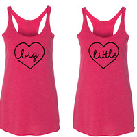 Big and Little Sorority Matching Heart Tank Tops