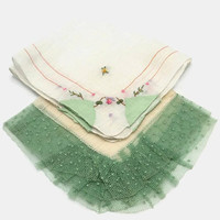Green Purple And Pink Hankies Floral Embroidered Tulle Lace Edge Set Of Two
