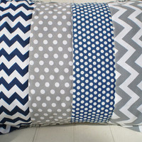 Throw pillow cover,Nursery pillow cover,nautical pillow,boy or girl room throw,nautical,rustic,chevron,dots,navy blue,grey,12 by 16inches