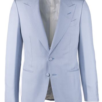 Tom Ford Men's Blue Notch Lapels Silk Suit Jacket
