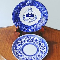 2 Vintage / Antique Saucers, Collectible Plates, Crown Derby, Wedgwood Etruria, Flow Blue, Blue And White