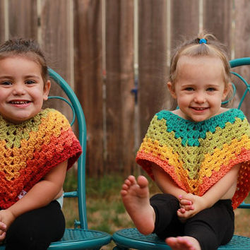 Crochet Toddler Poncho With Fringe ~Ready to Ship~FREE SHIPPING