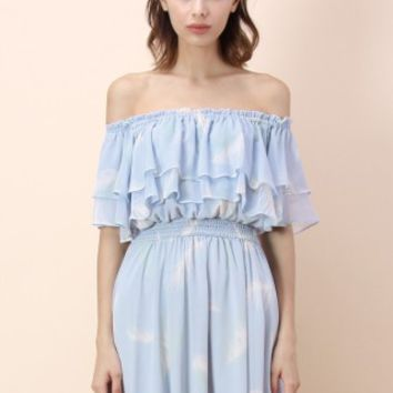 Light Feathers Frilling Off-shoulder Dress in Blue - Retro, Indie and Unique Fashion